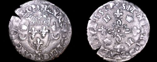 1551-Crown French Douzain Aux Crescent World Coin - France Henry II