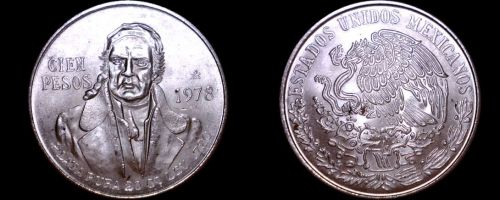 1978 Mexican 100 Peso World Silver Coin - Mexico Morelos