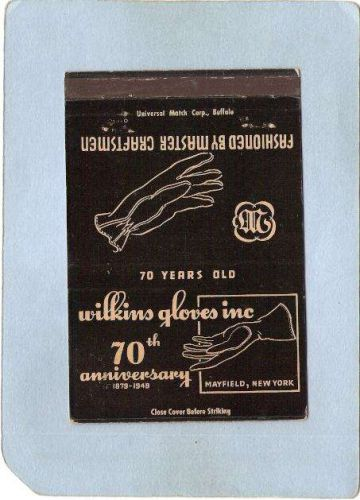 New York Mayfield Matchcover Royal Flash 70th Anniversary Wilkins Gloves I~1963