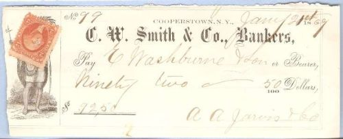 New York Cooperstown Cancelled Check C. W. Smith & Co., Bankers Check #99 ~52