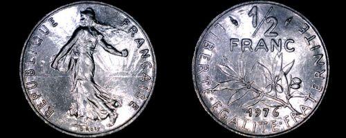 1976 French Half (1/2) Franc World Coin - France