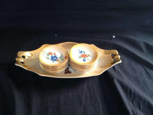 antiqoe porcelain Petit Four Set 12 parts . Marked Victoria + Crwon