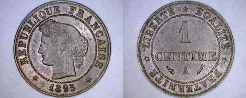 1895-A French 1 Centime World Coin - France