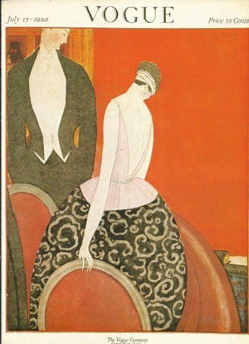 Vogue 1920 Cover Print Lady Man Suit by Lepape Art Deco 1984 original print