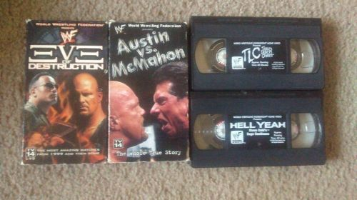 LOT OF 4 wwf VHS wrestling STONE COLD HELL YEAH THE ROCK