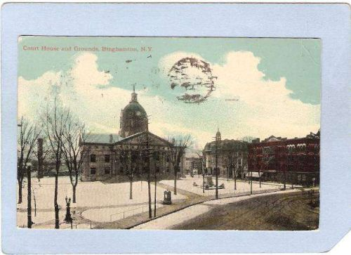 New York Binghamton Court House Square Street Scene Intersection w/Trolley~590