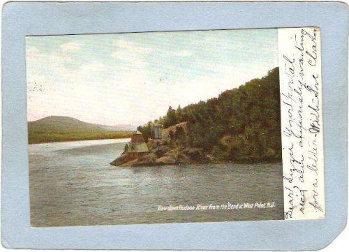 New York West Point Lighthouse Postcard View Down Hudson River From the be~771