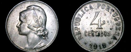 1919 Portuguese 4 Centavo World Coin - Portugal
