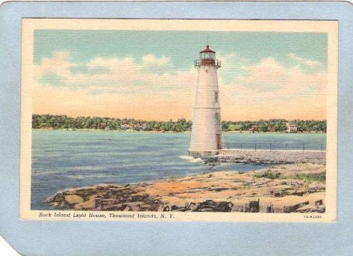 New York Thousand Islands Lighthouse Postcard Rock Island Light House ligh~812