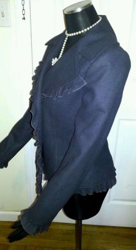 Casual Ruffle Elegant Navy Blue Solid Lined Soft JACKET by Mac & Jack-Women's M