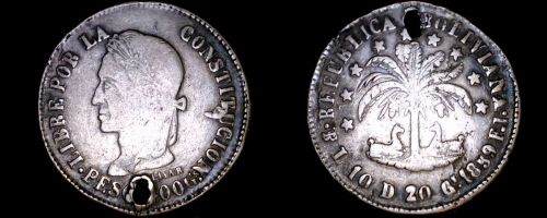 1859-PTS F.J. Bolivian 8 Soles World Silver Coin - Bolivia - Holed