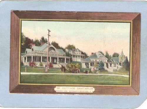 New York Saranac Lake Cottage Sanitarium Brown Border ny_box5~1953