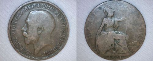1921 Half Penny World Coin - Great Britain - UK - England