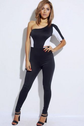 BLACK/WHITE COLOR BLOCK CATSUIT ONE SLEEVE FITTED JUMPSUIT,CLUBWEAR S,M,L,XL
