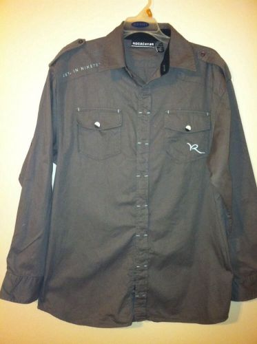 RocaWear Gray Sage Button Down Long Sleeve Shirt Size XL(18/20)