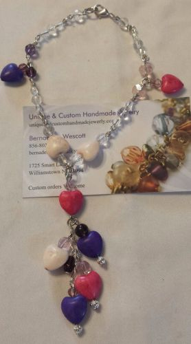 heart pink purple and white silver plated handmade anklet sizing available