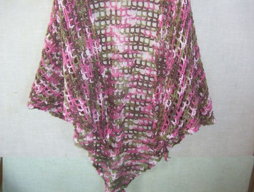 Hand Crocheted Pink CamoAcrylic Lacy Woman's Shawl Wrap
