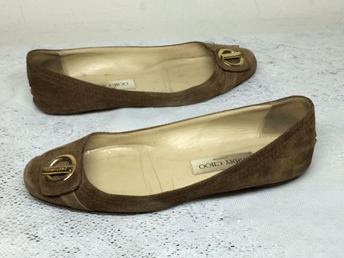 JIMMY CHOO BROWN SUEDE FLAT SHOES SIZE 37.5