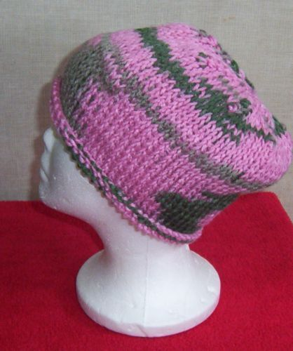 Hand Crocheted Pink Ombre Tunisian Knit Stitch Roll Brim Woman's or Teens Hat