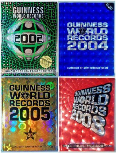 4 Hardcover Guiness Books of World Records: 2002, 2004, 2005 & 2008