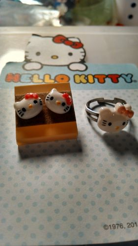Hello Kitty Earrings and Ring set