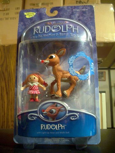 Rudolph with light-up nose and misfit doll
