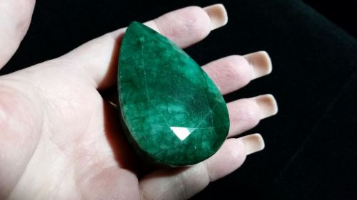 Loose Rare & Natural & Untreated Certified Pear Cut Dark Green Emerald Stunning!