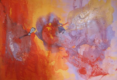 Original abstract acrylic hand-made painting on stretched canvas - 35.4 x 24.4 in
