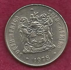 South Africa 50 Cents 1978 Coin - Large Old Coin!