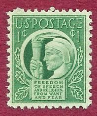 1943 US Statue of Liberty Freedom of Speech & Religion fear 1 cent stamp MNH