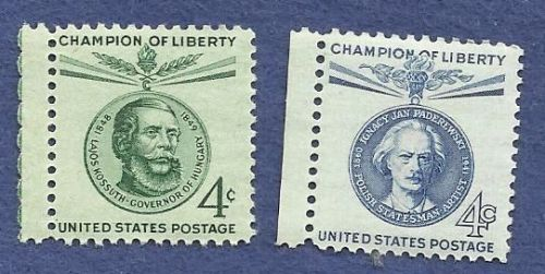 US 4 Cent 1958-1960 Stamps Champion of Liberty - 2 for price of 1! Paderwski & Kossut