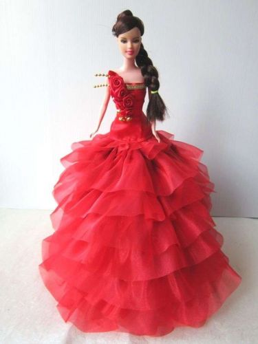 RED EVENING GOWN PARTY COSTUMES DRESS UP OUTFIT FANCY FASHION FOR BARBIE, DOLLS