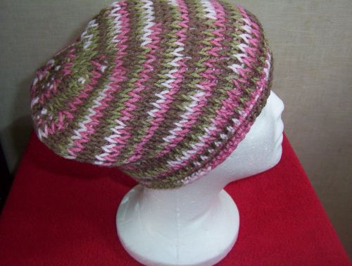 Hand Crocheted Tunisian Knit Stitch Women's or Teens Pink Camo Roll Brim Hat