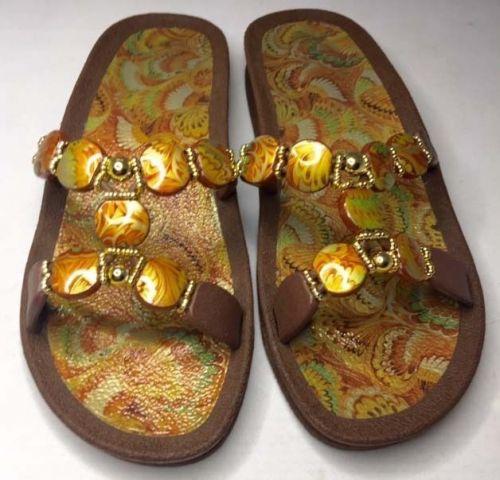 Grandco Beaded Sandals Flip Flop Slides Women Footwear Shoes Pools Beach Lake 8