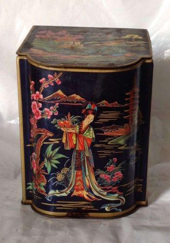 Vintage Tea Tin Made in England Oriental Geisha Girl