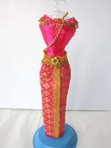 """PINK THAI NATIONAL TRADITIONAL HANDMADE DRESS UP FOR BARBIE, Dolls 12"""" COSTUMES"""