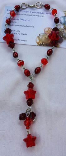 star red glass and acrylic beaded handmade anklet sizing available