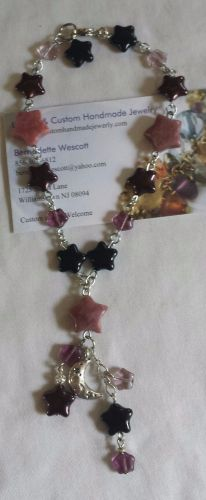 star and moon rhodonite and glass silver plated handmade anklet sizing available