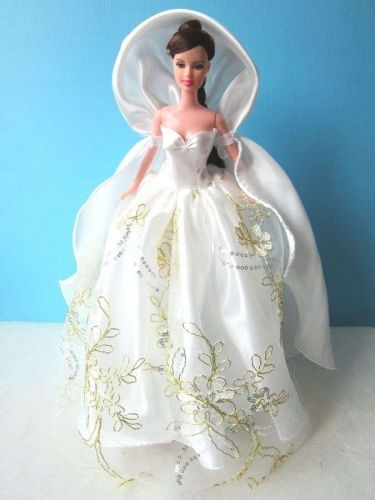 """FROZEN GOWN WHITE DRESS UP COSTUMES OUTFIT FANCY FASHION FOR BARBIE, DOLLS 12"""""""