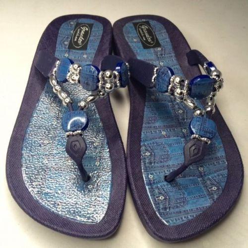 Grandco Beaded Sandals Flip Flop Slides Women Footwear Shoes Pool Blue 9