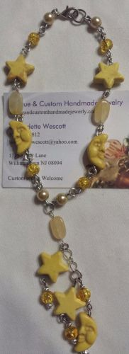 star and moon yellow glass and cream quartz handmade anklet, sizing available
