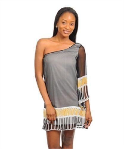 CASUAL YELLOW BLACK SINGLE SHOULDER DRESS, S,M,L