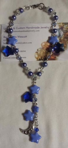 star and moon blue czech glass and crystal handmade anklet