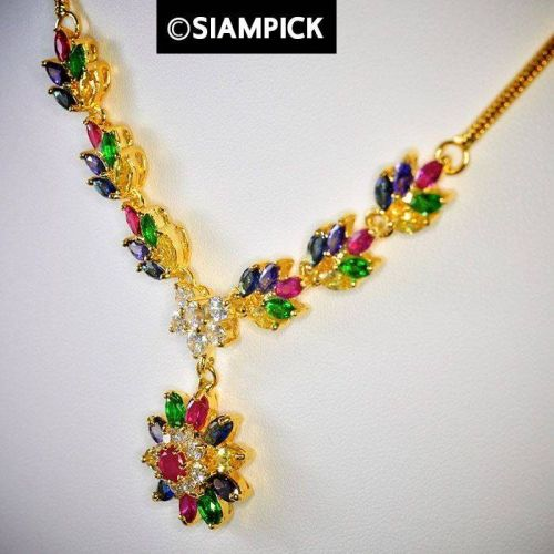 Multi Color CZ Gems 24k Thai Baht Yellow Gold GP Necklace Earrings Jewelry Set 5