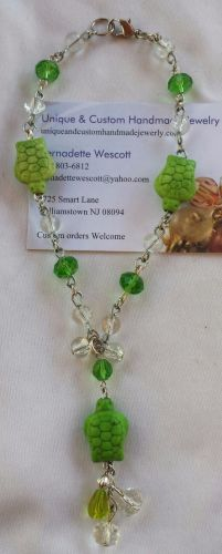 turtle green and clear handmade anklet, custom sizing available