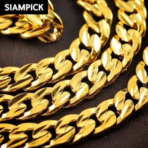 """24"""" Thai Baht 22k 24k Yellow Gold Plated Curb Chain Link Necklace Jewelry N026"""