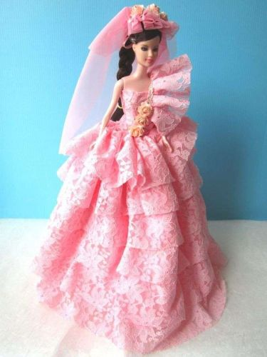 """PINK WEDDING GOWN PARTY VINTAGE STYLE DRESS UP COSTUME FOR BARBIE DOLLS 12"""""""