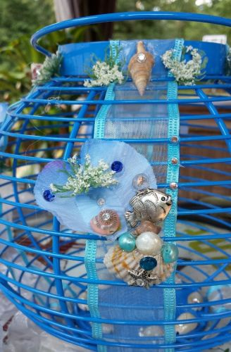 starfish shell anchor lantern/centerpiece, blue handmade candle included