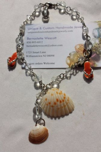 flip flop and shells silver plated handmade anklet sizing available