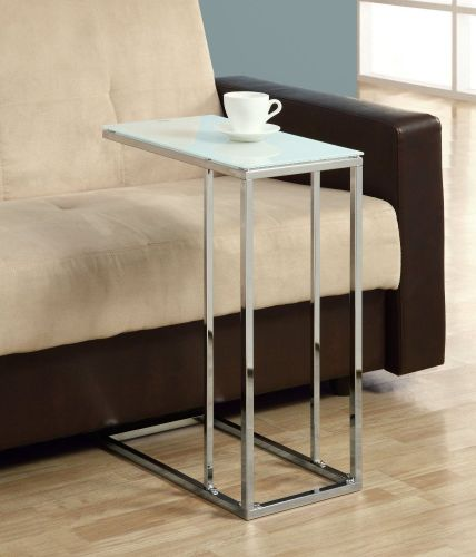 Snack Table, Glass Top,Chrome Base For Eating Coffee Tea TV Coaster Contemporary